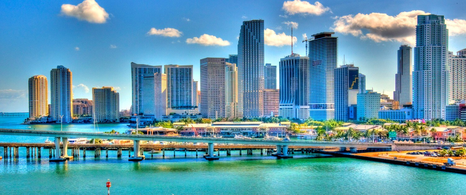City view of downtown Miami from afar on a clear day with blue skies