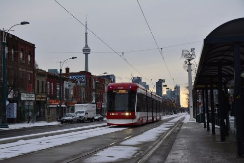 Toronto tram downtown with snow on the road