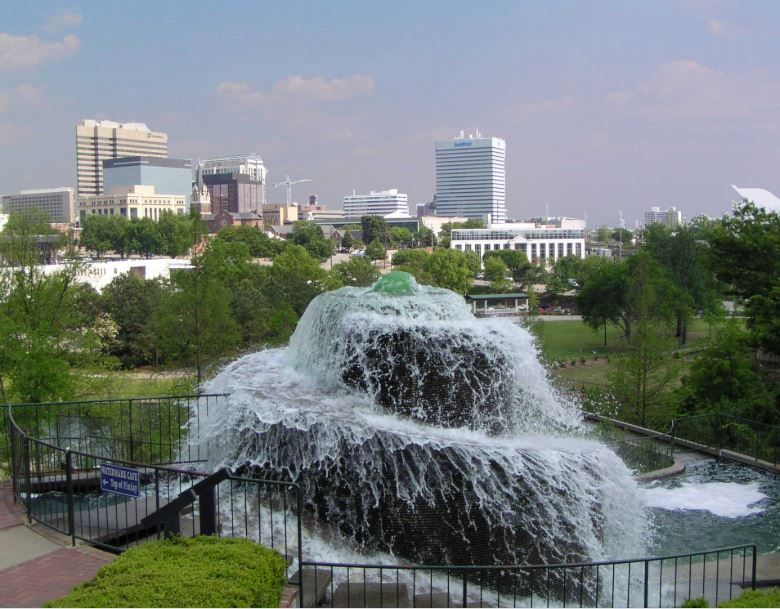 Finley Fountain overlooking downtown Columbia
