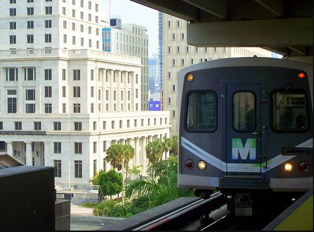 Miami Train Picture standing on platform with view of city in background