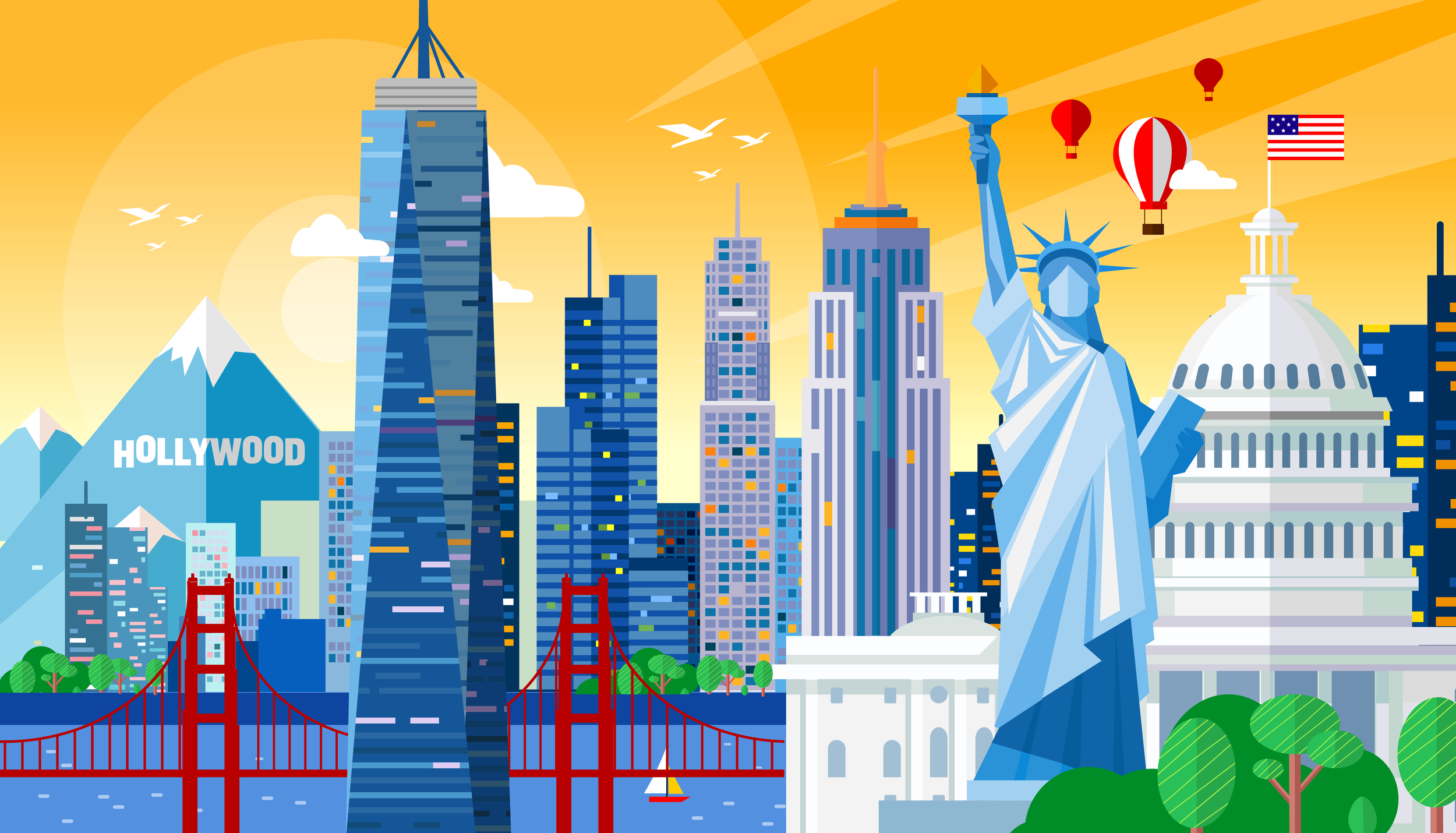 Labor Day colorful background with Statue of Liberty, White House, Golden Gate Bridge and more U.S. Landmarks