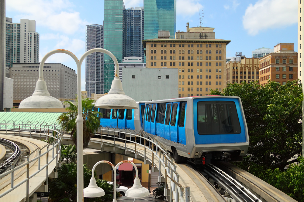 Metromover on the move on a sunny day