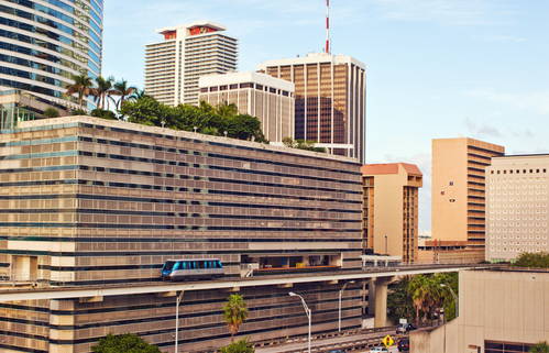 Miami Metromover with building in background
